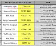 Programme des matchs du week-end du 19/20 avril
